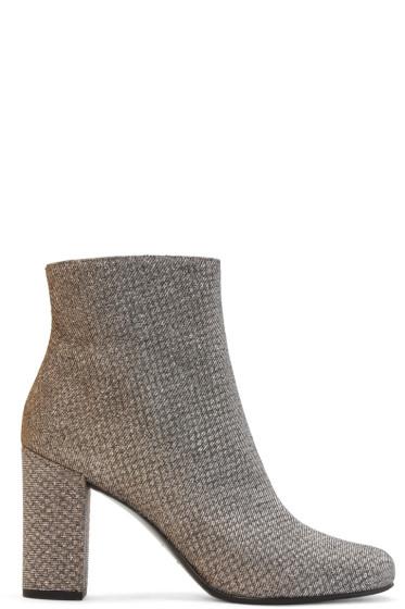 Saint Laurent - Gold Textile Babies Boots
