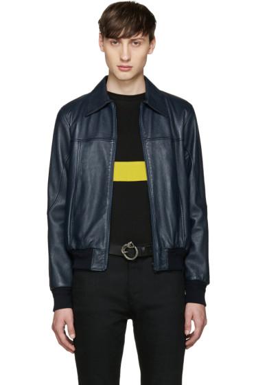 Saint Laurent - Navy Short Leather Jacket