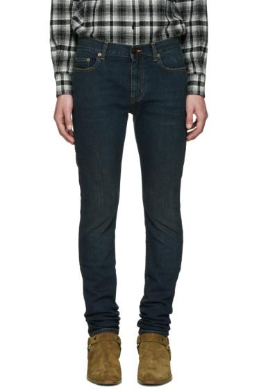 Saint Laurent - Indigo Low-Rise Skinny Jeans