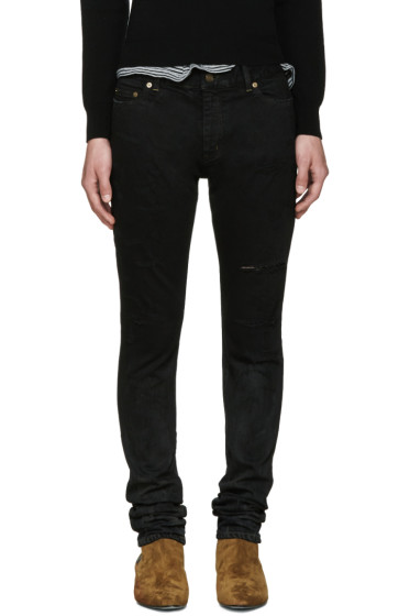 Saint Laurent - Black Super Destroyed Low-Rise Skinny Jeans