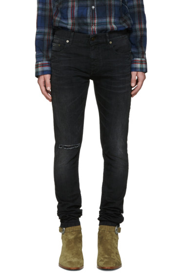Saint Laurent - Black Low-Rise Skinny Jeans