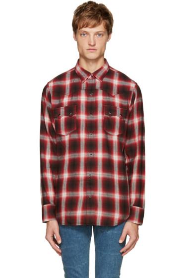 Saint Laurent - Red & Black Check Shirt