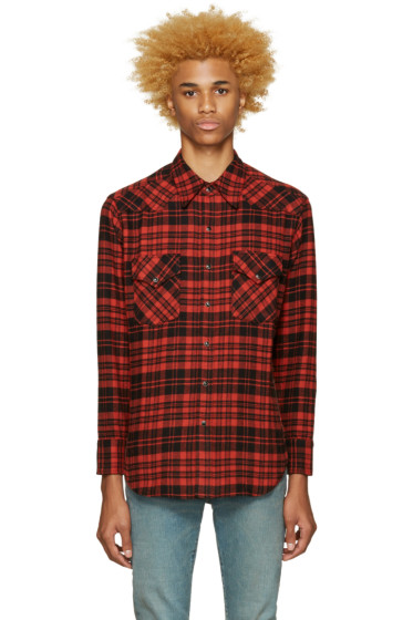 Saint Laurent - Black & Red Plaid Shirt