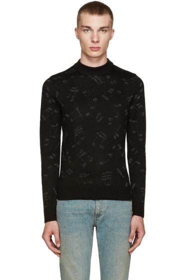 Saint Laurent - Black Calf-Hair Music Note Sweater