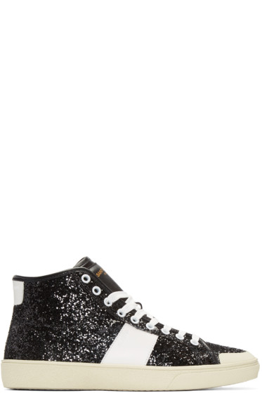 Saint Laurent - Black Glittered SL/37 Court Classic Sneakers