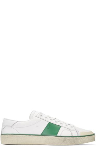 Saint Laurent - White Distressed SL/37 Court Classic Sneakers