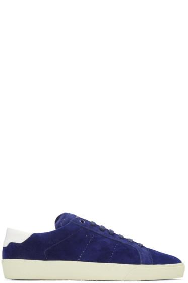 Saint Laurent - Blue Suede Court Classic Sneakers