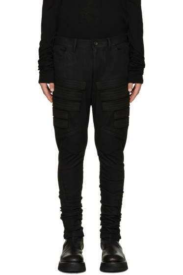 Julius - Black Embroidered Appliqué Trousers