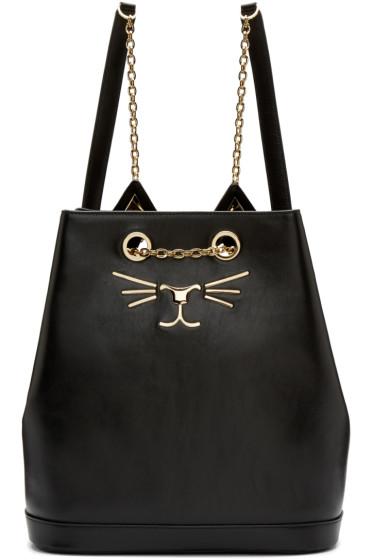Charlotte Olympia - Black Leather Feline Backpack