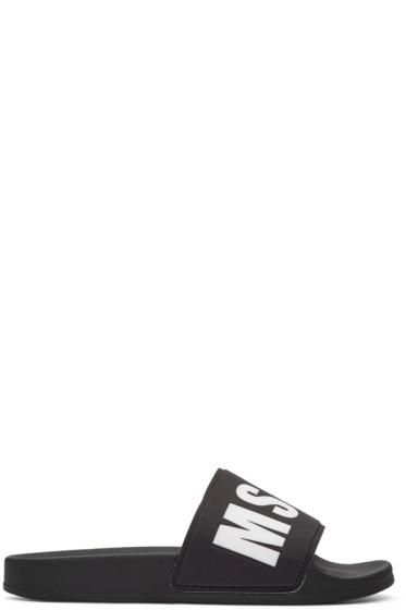 MSGM - Black Logo Slide Sandals