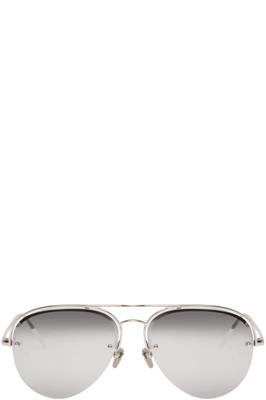 Linda Farrow Luxe - Silver Aviator Sunglasses