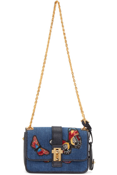 Valentino - Blue Denim Micro Butterfly Rockstud Bag