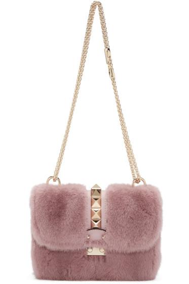 Valentino - Pink Fur Small Lock Shoulder Bag