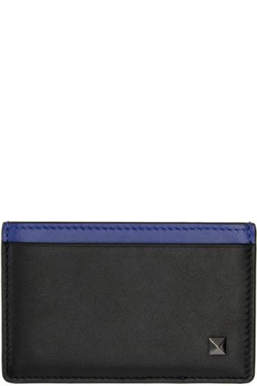 Valentino - Black Simple Stud Card Holder