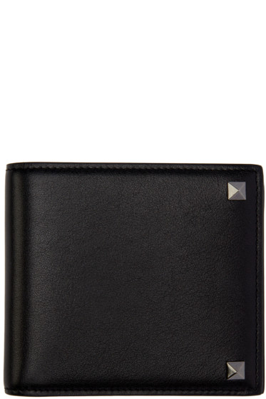 Valentino - Black Leather Rockstud Bifold Wallet
