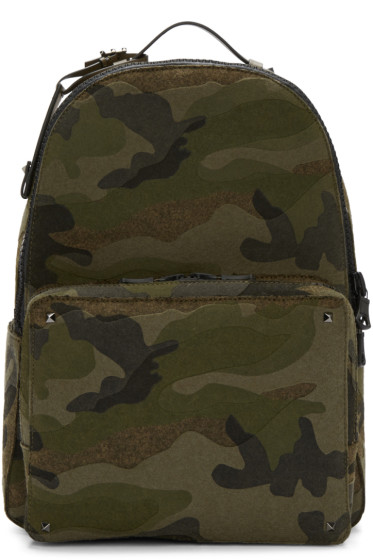 Valentino - Green Camo Rockstud Backpack