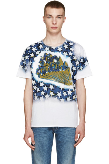 Valentino - White & Blue 'Star Studded' T-Shirt