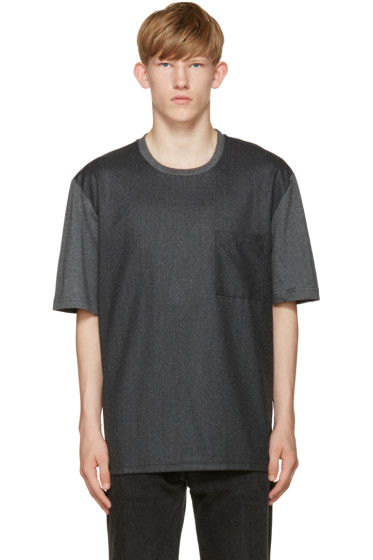 AMI Alexandre Mattiussi - Grey Colorblocked T-Shirt