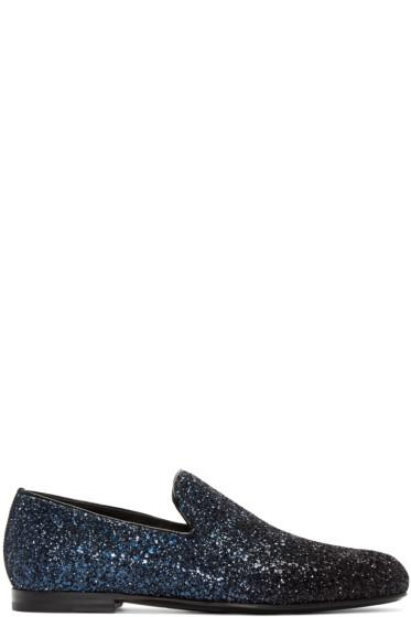 Jimmy Choo - Navy & Black Glitter Sloane Loafers