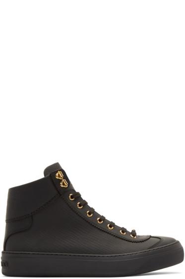 Jimmy Choo - Black Matte Argyle High-Top Sneakers