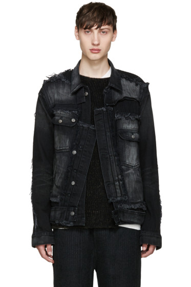 Miharayasuhiro - Black Fringed Denim Jacket