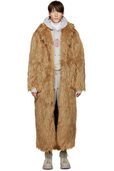 Pyer Moss - Tan Long Faux Fur Coat