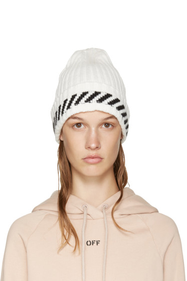 Off-White - White Diagonals Beanie
