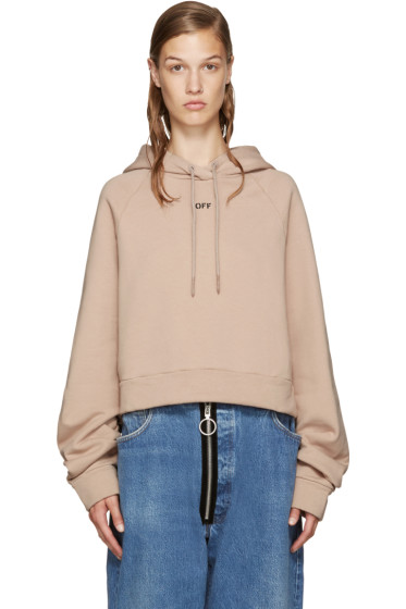 Off-White - Pink Cropped Logo Hoodie