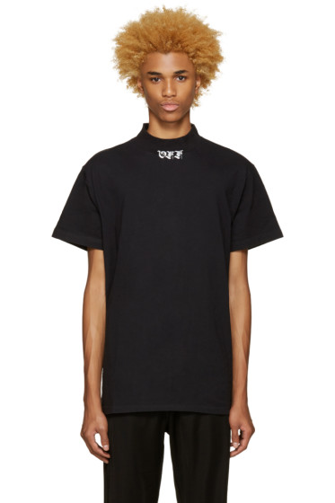 Off-White - Black 'Off' Mock Neck T-Shirt