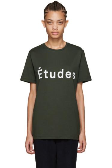 Etudes - Khaki Page Logo T-Shirt