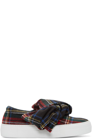 Joshua Sanders - Black Tartan Bow Slip-On Sneakers