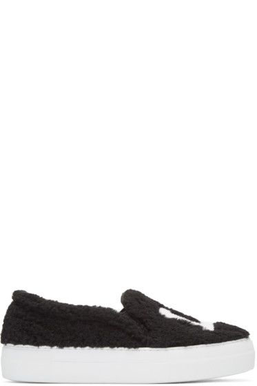 Joshua Sanders - Black Shearling 'LA' Slip-On Sneakers