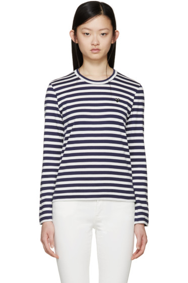 Comme des Garçons Play - White &  Navy Striped Small Heart Patch T-Shirt