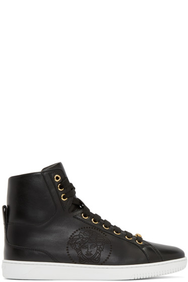 Versace - Black Perforated Medusa High-Top Sneakers
