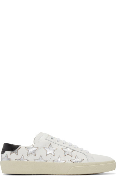 Saint Laurent - White & Silver Stars Court Classic Sneakers