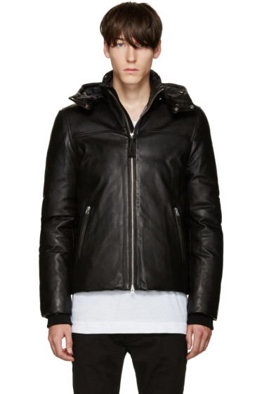 Mackage - Black Leather Belfour Down Jacket