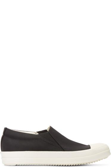 Rick Owens Drkshdw - Black Nylon Boat Slip-On Sneakers