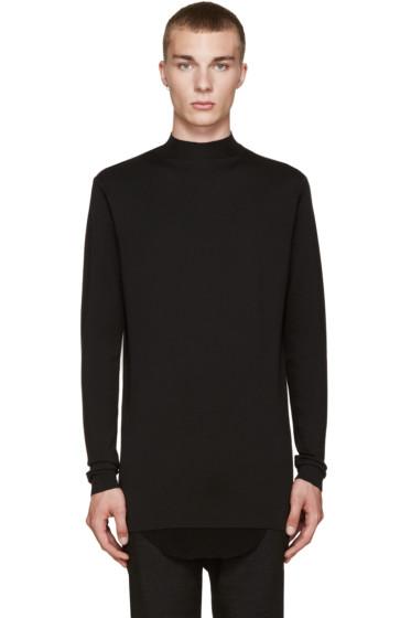 Rick Owens - Black Wool Mock Neck Sweater