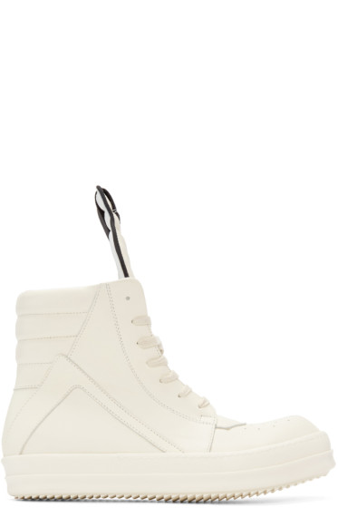Rick Owens - White Geobasket High-Top Sneakers