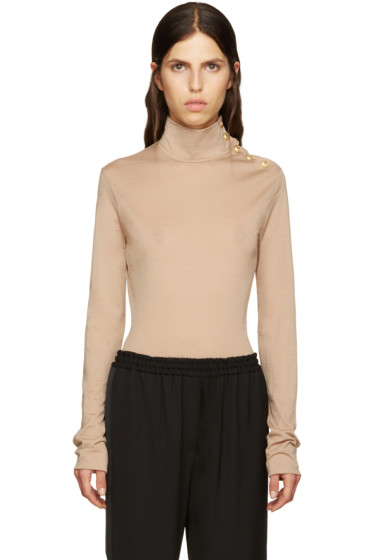 Balmain - Beige Wool Turtleneck