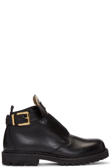 Balmain - Black King Buckle Combat Boots