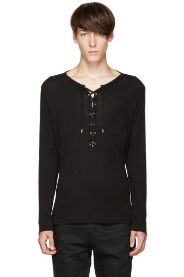 Balmain - Black Lace-Up T-Shirt
