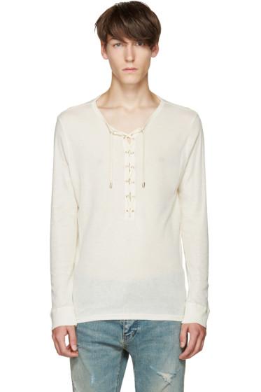 Balmain - Off-White Lace-Up T-Shirt