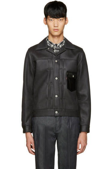Junya Watanabe - Black Faux Leather Levi's Edition Jacket