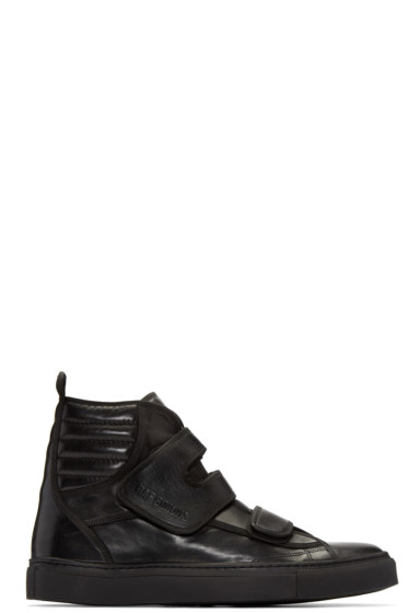 Raf Simons - Black Leather Velcro High-Top Sneakers