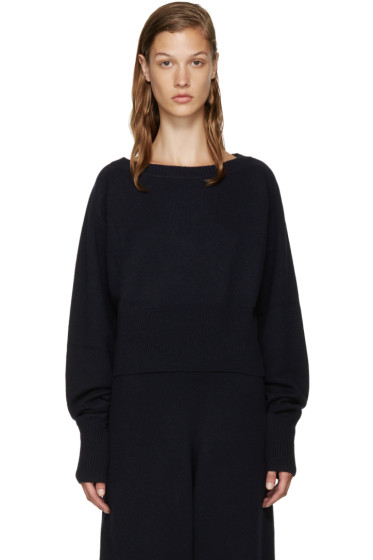 Chloé - Navy Cropped Cashmere Sweater