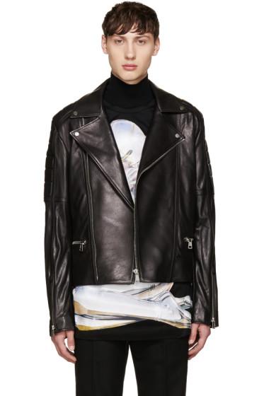 Juun.J - Black Sheepskin Biker Jacket