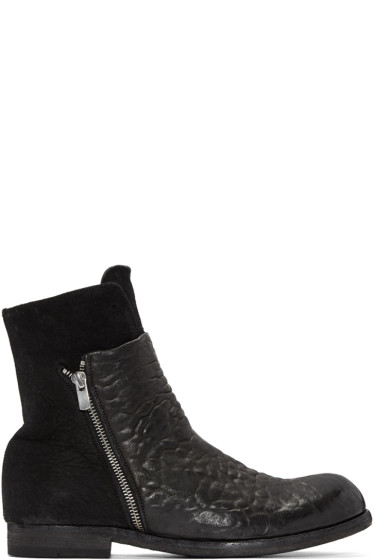 Officine Creative - Black Leather & Suede Bubble Boots