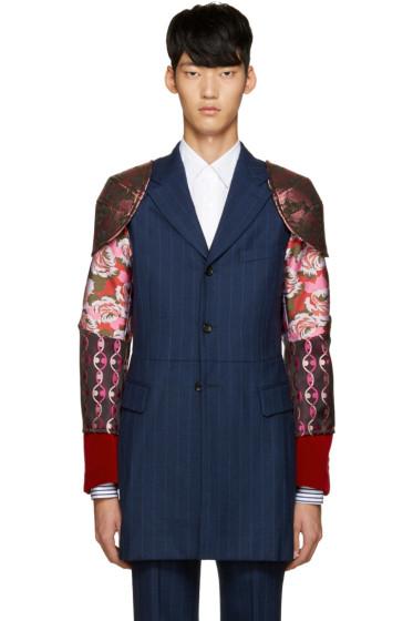 Comme des Garçons Homme Plus - Navy Contrasting Sleeve Blazer