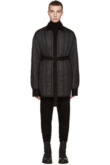 Ann Demeulemeester - Black Quilted Shirt Jacket